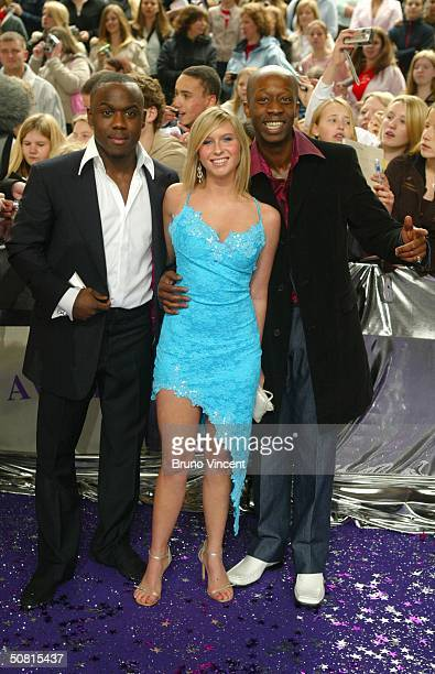 Eastenders soap stars Mohammed George Brooke Kinsella and Joseph Kpobie arrive at the sixth annual 'British Soap Awards 2004' on May 8 2004 at BBC...