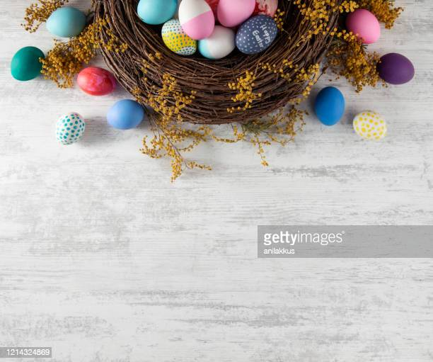 easter background - easter egg stock pictures, royalty-free photos & images