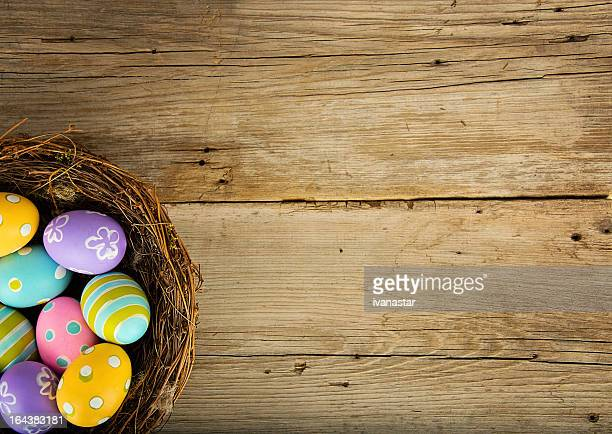 Easter Background with Colored Eggs