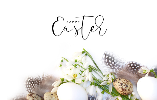 Easter background with flowers and eggs 1127478377