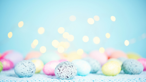 Easter background with pastel Easter eggs 928192534