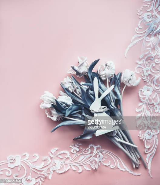 easter background with tulips bunch, rabbit decor and lace braid - lace textile stock pictures, royalty-free photos & images
