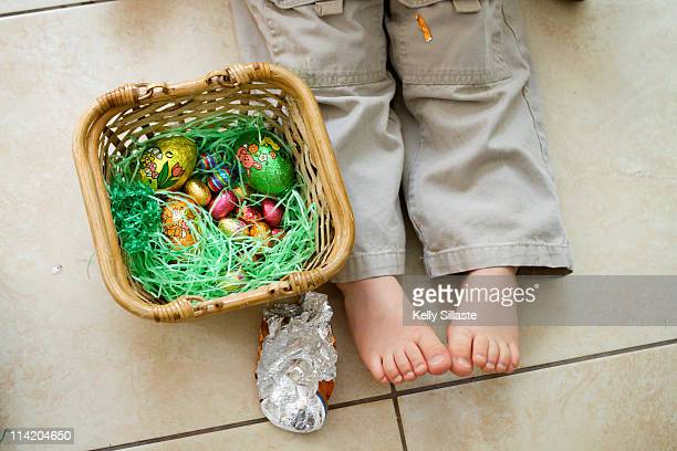 Easter basket and little feet