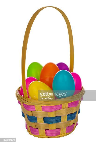 easter basket full of eggs, clipping path - easter basket stock pictures, royalty-free photos & images