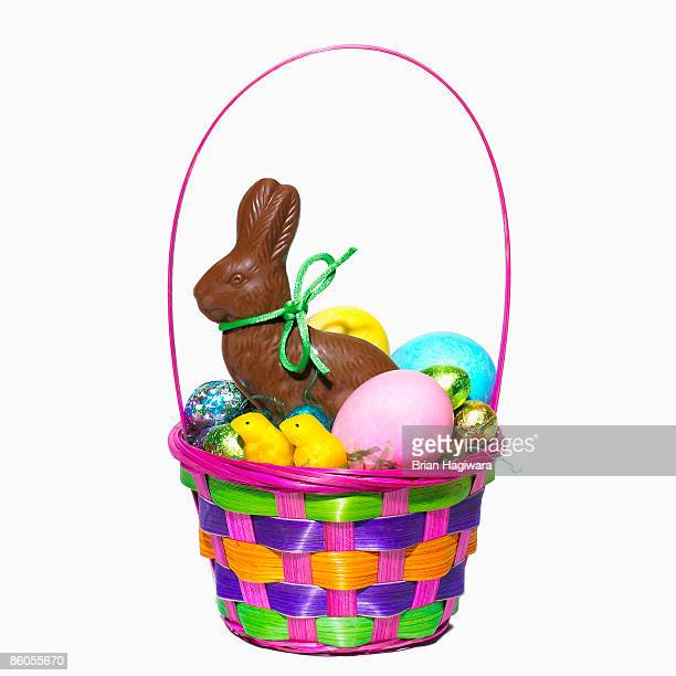 easter basket - easter candy stock pictures, royalty-free photos & images