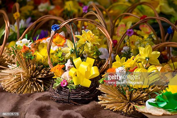 Easter baskets, city market in Cracow, Poland.