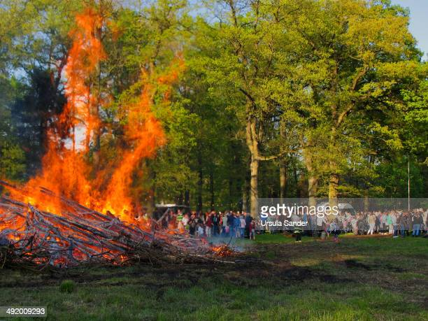 CONTENT] Easter bonfire a tradition for centuries was burnt on Easter Day evening in the district Eckardtsheim in Bielefeld Germany