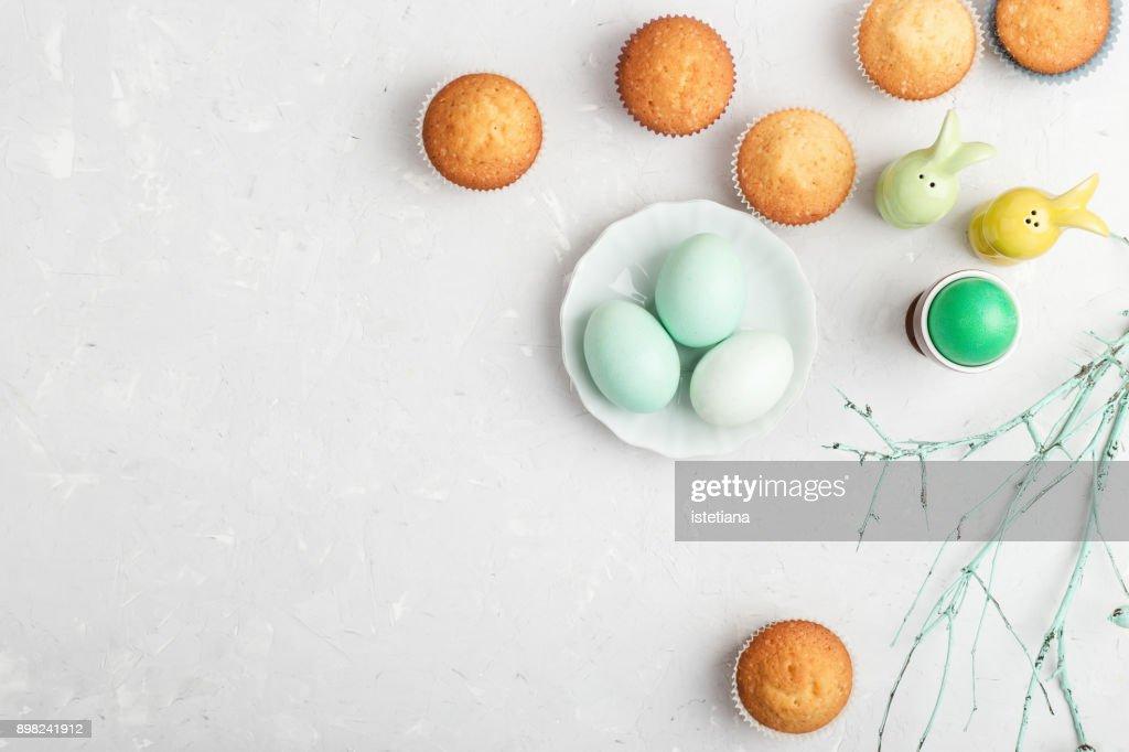 Easter breakfast or brunch spring table : Stock Photo