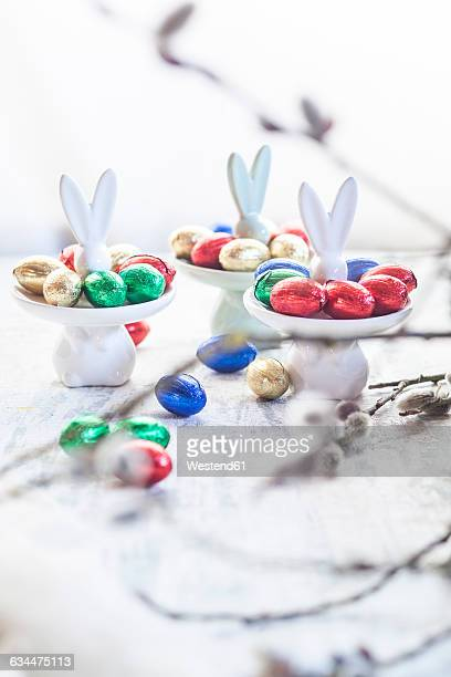 Easter bunny plates with chocolate eggs, twigs