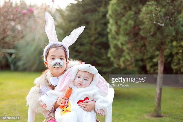 easter bunny siblings - easter bunny costume stock pictures, royalty-free photos & images