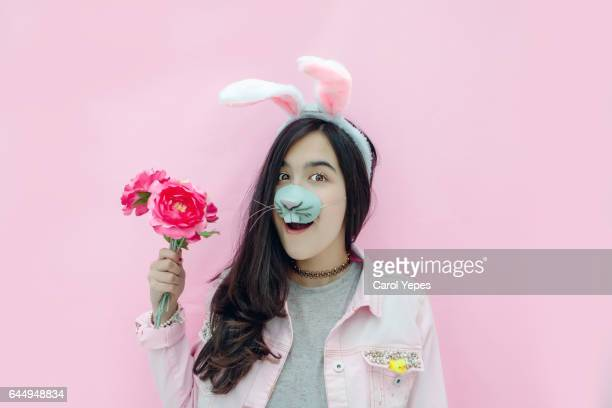 easter bunny teen - easter bunny costume stock pictures, royalty-free photos & images