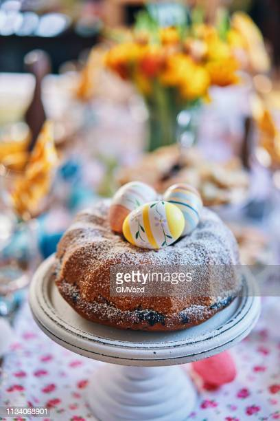 easter bunt cake - easter cake stock pictures, royalty-free photos & images