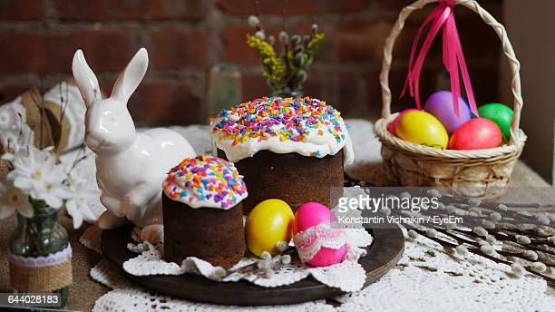 Easter Cakes And Eggs On Table