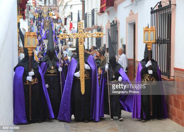 Easter Christian religious procession through streets of Setenil de las Bodegas, Cadiz province, Spain.