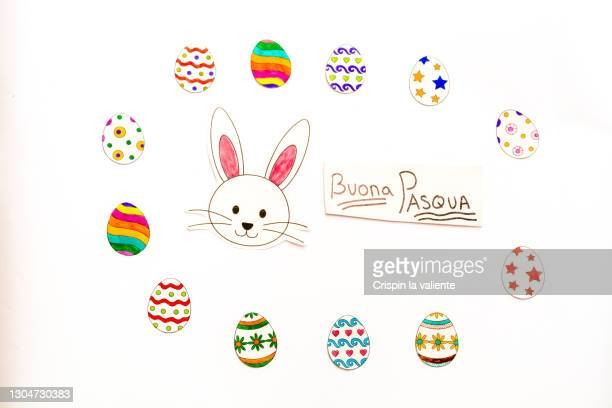easter crafts on white , buona pasqua - buona pasqua stock pictures, royalty-free photos & images