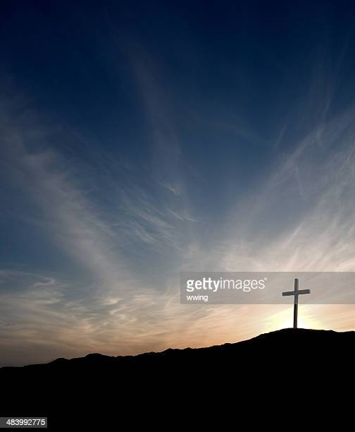 easter cross at sunrise- solitary with christ gone - easter cross stock pictures, royalty-free photos & images
