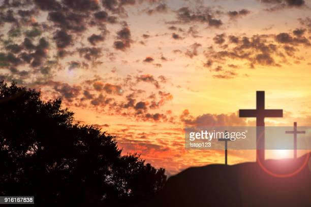 easter, crucifixion scene with three cross on hill. - easter cross stock pictures, royalty-free photos & images