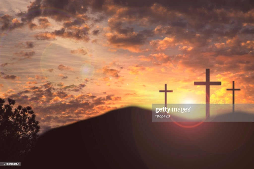 Easter, Crucifixion scene with three cross on hill. : Stock Photo