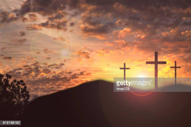 easter, crucifixion scene with three cross on hill. - crocifisso foto e immagini stock