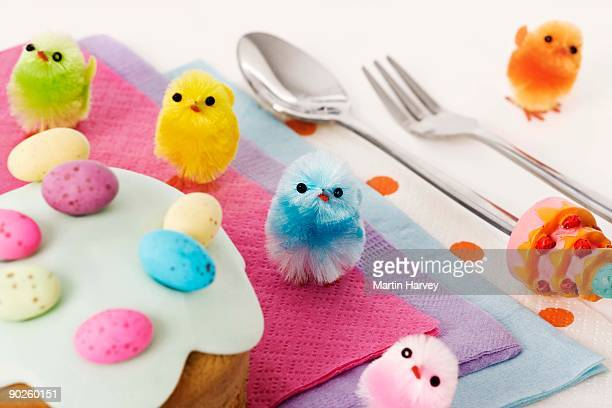 Easter cupcake and multicolored chick decorations
