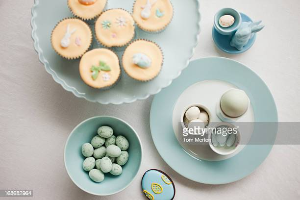 easter cupcakes and candies - easter candy stock pictures, royalty-free photos & images