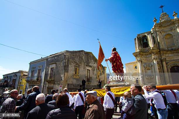 Easter Day Procession, Sicily: Men Carrying Statue of Jesus