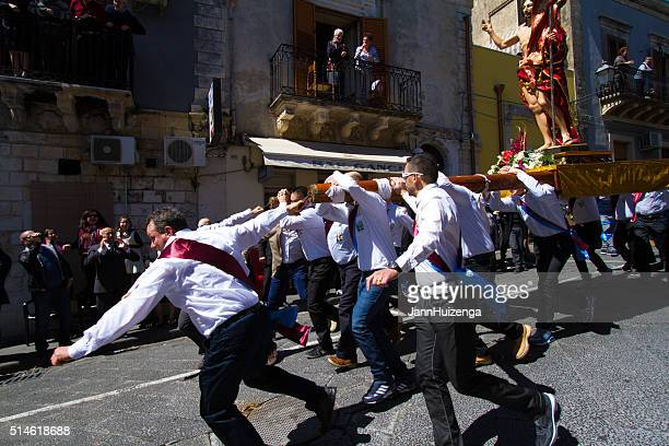 Easter Day Procession, Sicily: Men Running with Statue of Jesus
