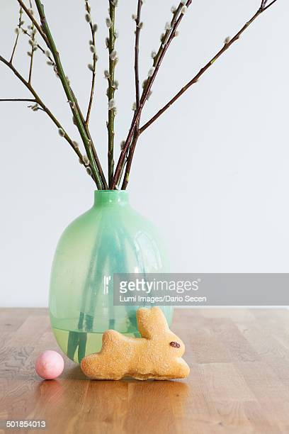 Easter decoration, bread, painted egg and willow twigs, Munich, Bavaria, Germany