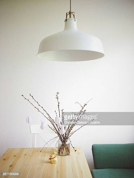 easter decoration on table - electric lamp stock pictures, royalty-free photos & images