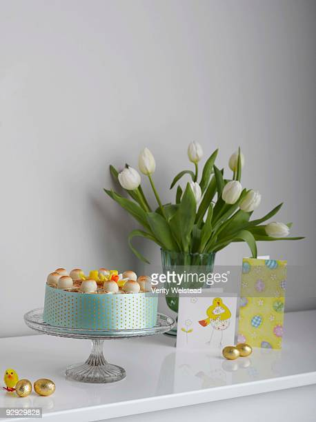 Easter decorations and simnel cake
