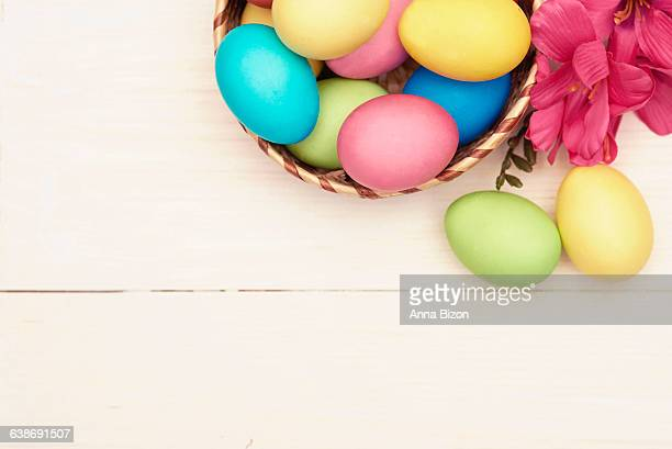 Easter decorations on a white wooden table. Debica, Poland