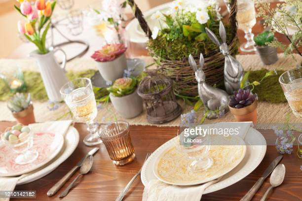 easter dining - easter dinner stock pictures, royalty-free photos & images