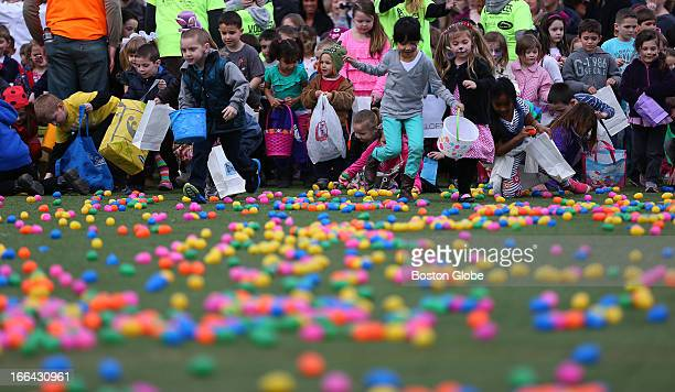 Easter Egg Dropalooza fundraiser to raise money for Lucy's Love Bus named for Lucy Grogan of Amesbury who died of leukemia at age 12 Kids scramble...