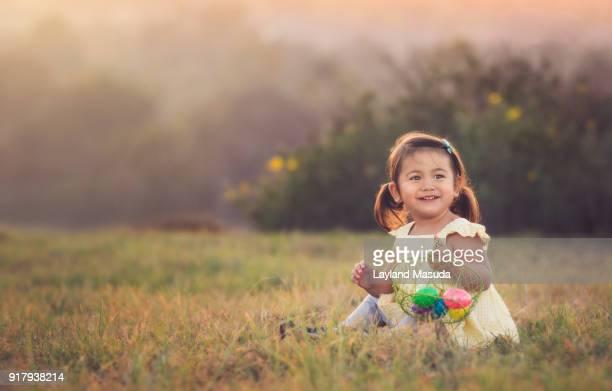 Easter Egg Hunt - Little Girl Smiles