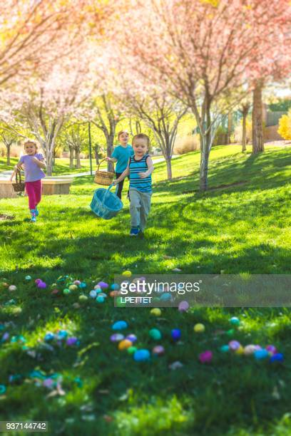 easter egg hunt - easter egg hunt stock pictures, royalty-free photos & images