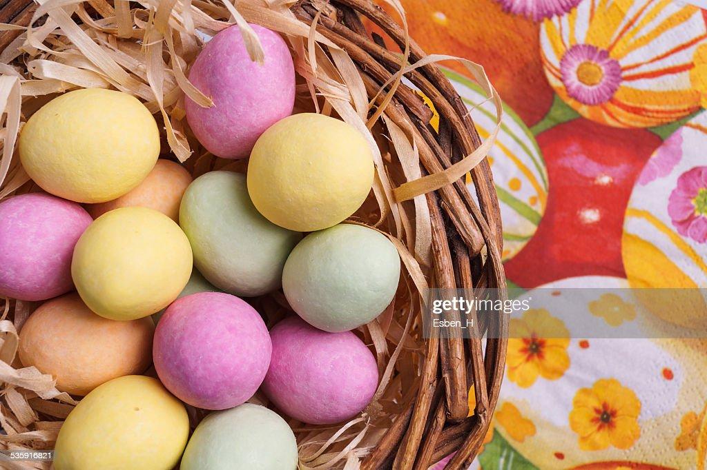 Easter Egg in Basket : Stock Photo