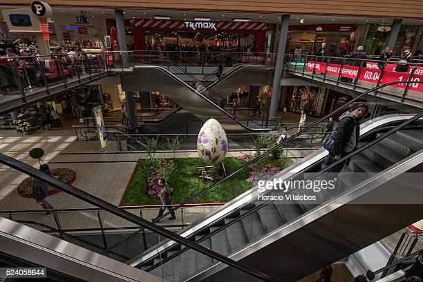Easter Egg in Potsdamer Platz Arkaden a shopping mall with 130 shops on three floors off Potsdamer Platz Berlin Germany 15 April 2014 Potsdamer Platz...