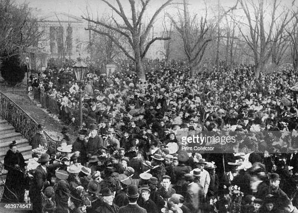 Easter egg rolling The White House Washington DC USA 1908 Lucy Webb Hayes wife of American president Rutherford B Hayes introduced the custom of...