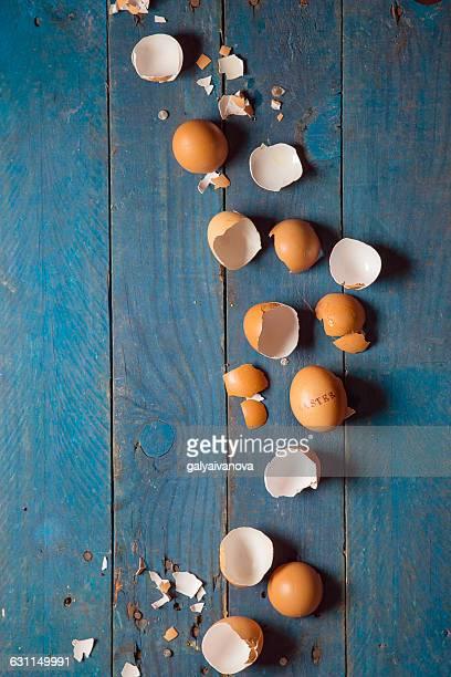 Easter egg shells  on table