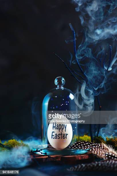 Easter egg under a glass dome with bird feathers on a dark background. Magical still life with copy space. Preserving precious things concept.