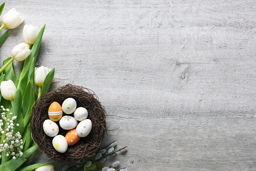 Easter eggs and flowers background 1136871733