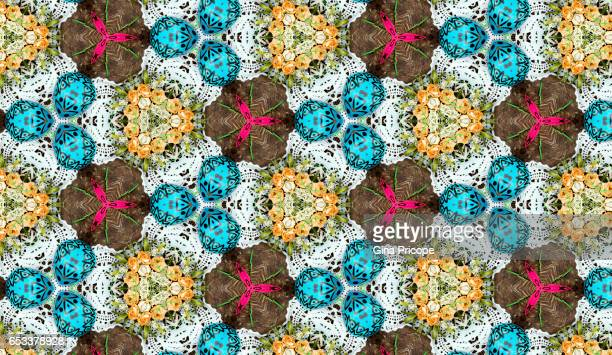 Easter eggs and roses, kaleidoscope pattern.