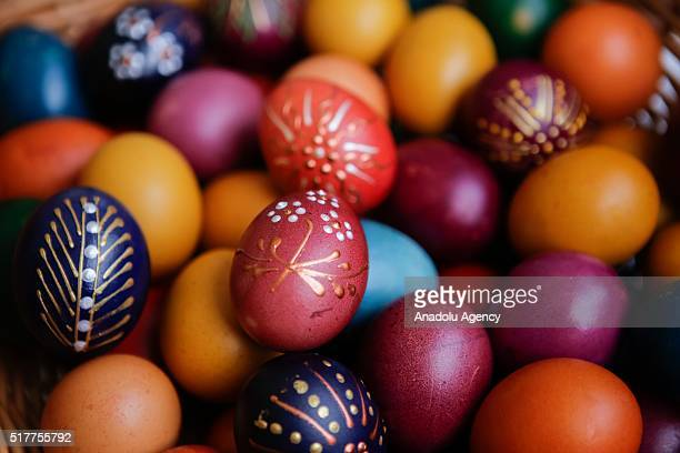 Easter eggs are seen as Catholic devotees attend the Easter Mass at Cathedral of Jesus' Heart in Sarajevo Bosnia and Herzegovina on March 27 2016