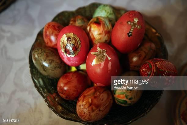 Easter eggs are seen as Orthodox Christians take part in the Easter Vigil at Sveti Georgi Orthodox Church in Edirne Turkey on April 07 2018