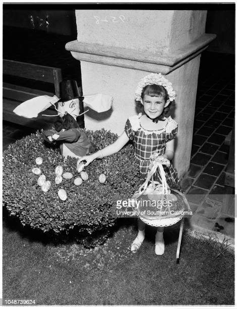 Easter eggs at San Gabriel Mission theatre 28 March 1952 Penny Jo Porter 3Susan Hay 4Jackie Robertson 3Danny Trott 5Nina Vaughn 5Lamb...