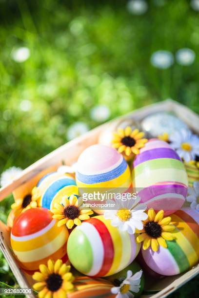 easter eggs basket on the grass - easter egg hunt stock pictures, royalty-free photos & images