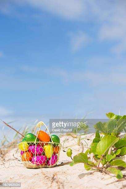 easter eggs beach - easter beach stock pictures, royalty-free photos & images