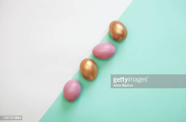 easter eggs, colorful flat lay with copy space for text, easter holiday card - happy easter text stock pictures, royalty-free photos & images