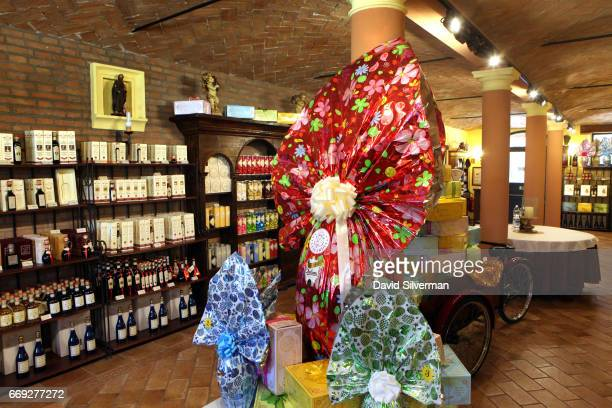 Easter eggs greet vistors in the showroom at Acetaia Leonardi on March 27 2017 in the village of Magreta di Formigine in the Italian province of...