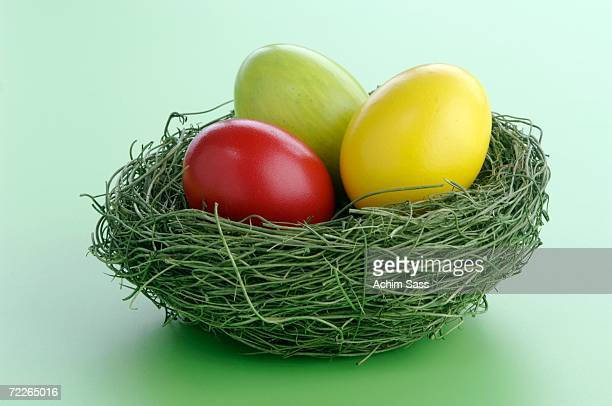 Easter eggs in nest, close-up, elevated view